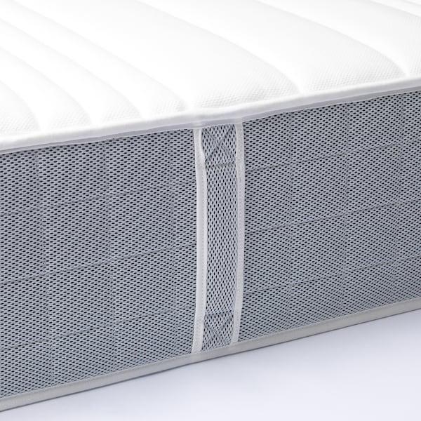 FLEINVÄR Pocket sprung mattress, extra firm/light grey, 120x200 cm