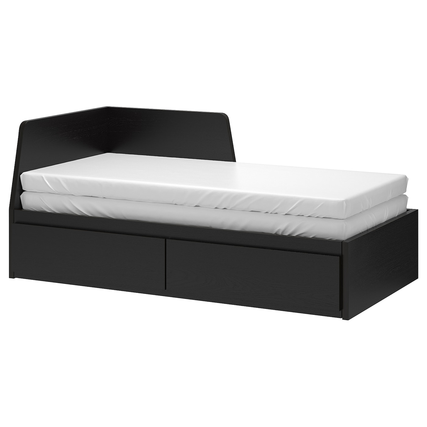 Flekke Day Bed Frame With 2 Drawers Black Brown 80x200 Cm Ikea