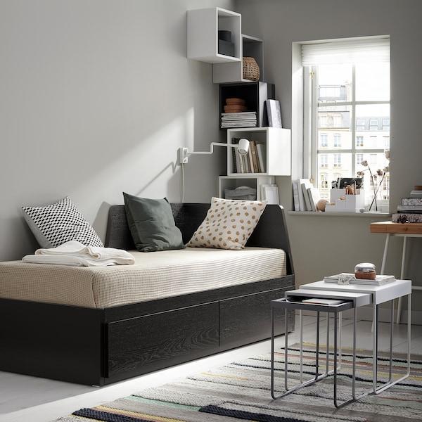 FLEKKE Day-bed frame with 2 drawers, black-brown, 80x200 cm