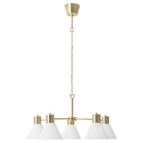 FLUGBO chandelier, 5-armed brass-colour/glass 77 cm 1.5 m