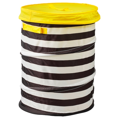 FLYTTBAR basket with lid yellow 49 cm 35 cm