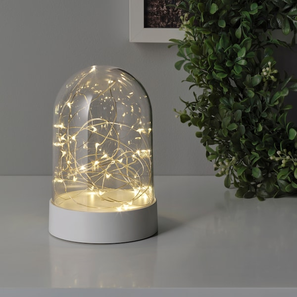 FÖRTJUSNING LED decoration lighting, battery-operated/dome white, 18 cm