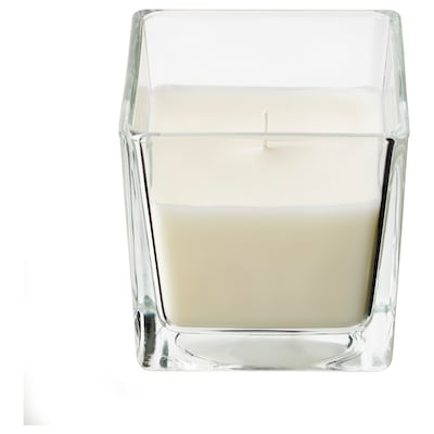 FRAMFÄRD Scented candle in glass, Fresh laundry/white, 8 cm