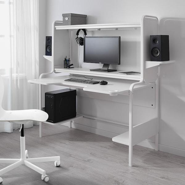 FREDDE Desk, white, 140/185x74x146 cm