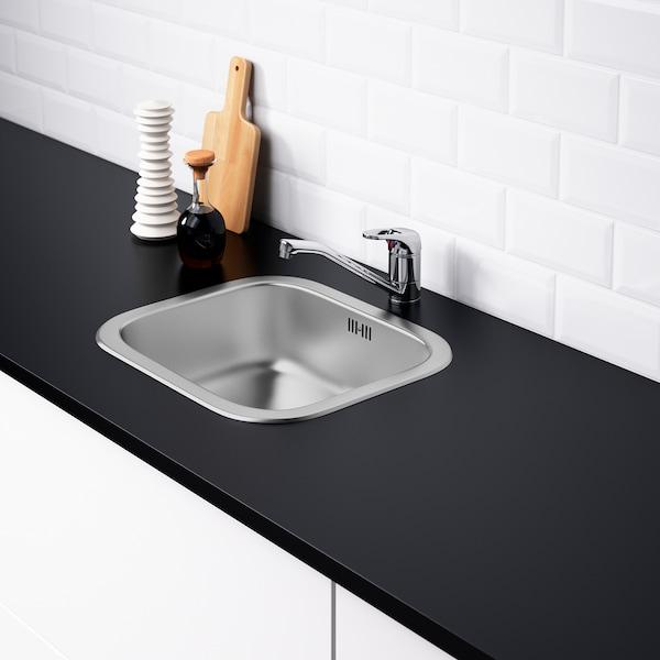 FYNDIG inset sink, 1 bowl stainless steel 15 cm 40 cm 34 cm 38 cm 44 cm 40 cm 46 cm 46 cm 40 cm 20.4 l