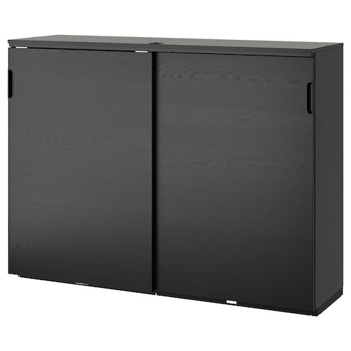 GALANT cabinet with sliding doors black stained ash veneer 160 cm 45 cm 120 cm 30 kg