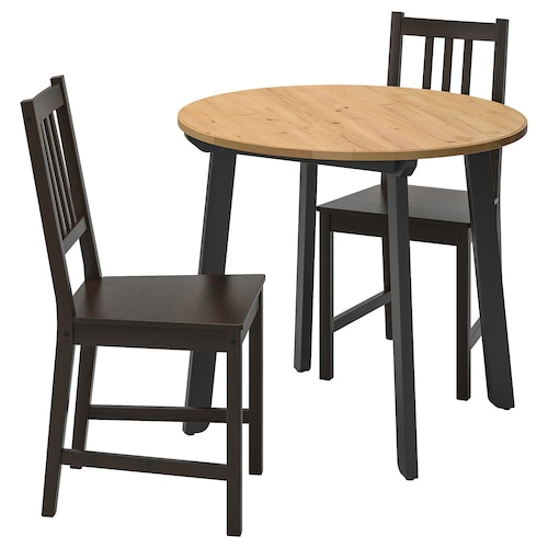 GAMLARED / STEFAN table and 2 chairs light antique stain/brown-black 85 cm 75 cm