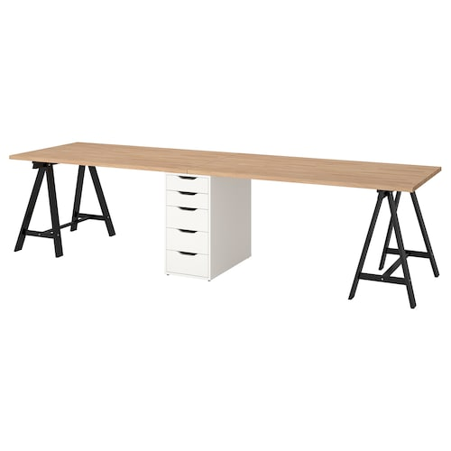 GERTON table beech/black white 310 cm 75 cm 73 cm 50 kg