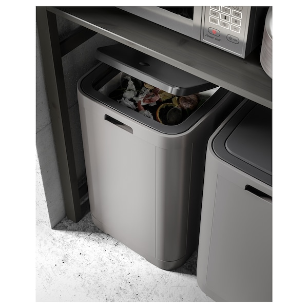 GIGANTISK Touch top bin, dark grey, 60 l