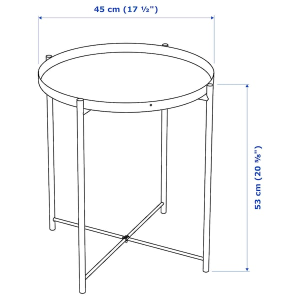 GLADOM Tray table, black, 45x53 cm