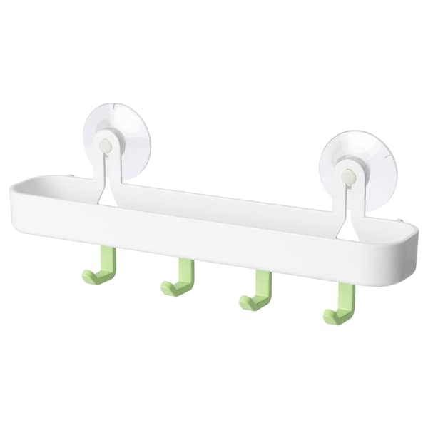 GLÖMSTA Tray with 4 hooks and suction cup