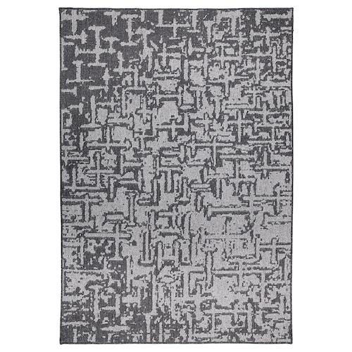 GLUMSÖ Rug, flatwoven, dark grey, 165x240 cm