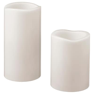 GODAFTON LED block candle in/out, set of 2, battery-operated grey