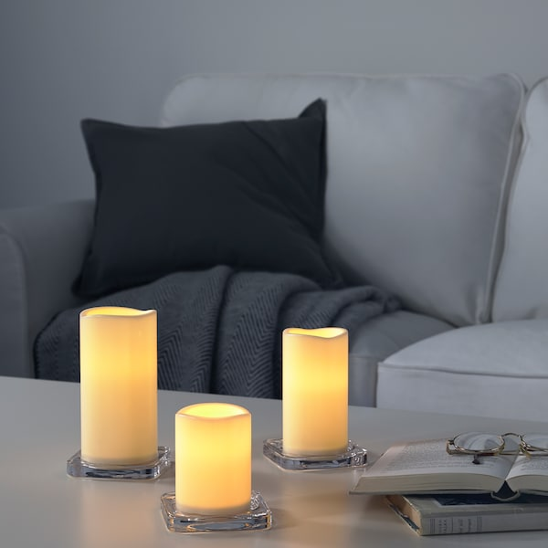 GODAFTON LED block candle in/out, set of 3 battery-operated/natural