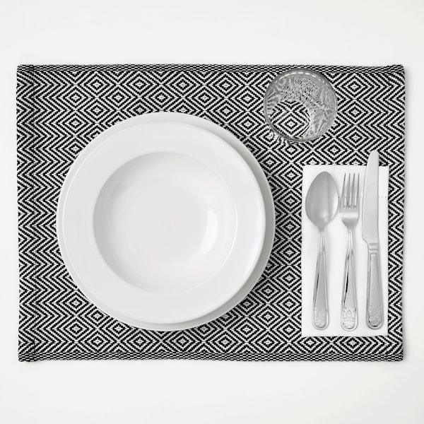 GODDAG place mat black/white 45 cm 35 cm
