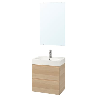 GODMORGON / BRÅVIKEN Bathroom furniture, set of 4, white stained oak effect/Brogrund tap, 61 cm