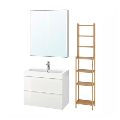 GODMORGON / BRÅVIKEN Bathroom furniture, set of 5, high-gloss white/Brogrund tap, 80 cm