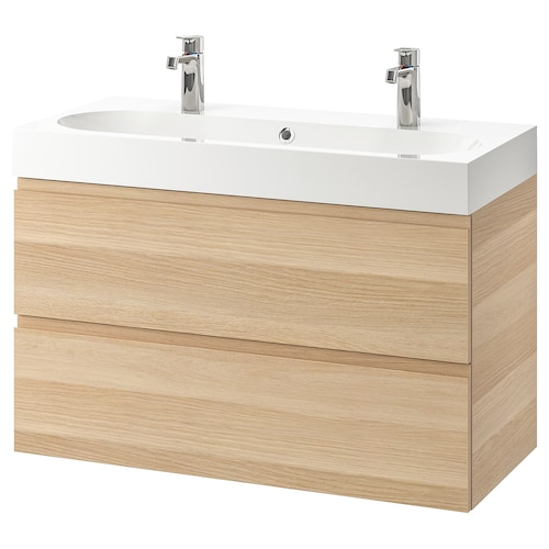 GODMORGON / BRÅVIKEN Wash-stand with 2 drawers, white stained oak effect/Brogrund tap, 100x48x68 cm