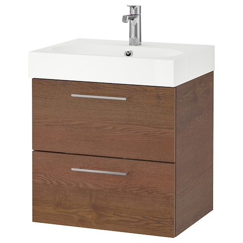 GODMORGON / BRÅVIKEN wash-stand with 2 drawers brown stained ash effect/Brogrund tap 61 cm 60 cm 49 cm 68 cm