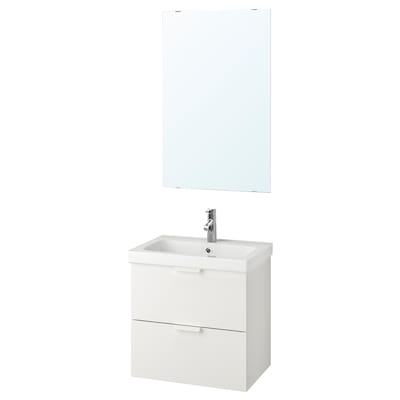 GODMORGON / ODENSVIK Bathroom furniture, set of 4, white/Dalskär tap, 63 cm