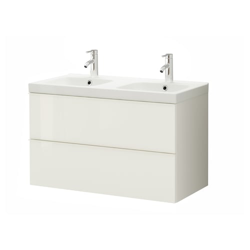 GODMORGON / ODENSVIK Wash-stand with 2 drawers, high-gloss white/Dalskär tap, 103x49x64 cm