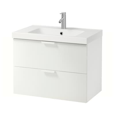 GODMORGON / ODENSVIK Wash-stand with 2 drawers, white/Dalskär tap, 83x49x64 cm