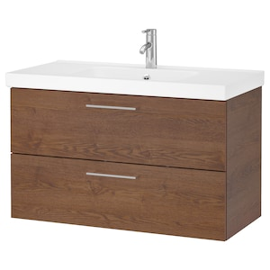 Colour: Brown stained ash effect/dalskär tap.