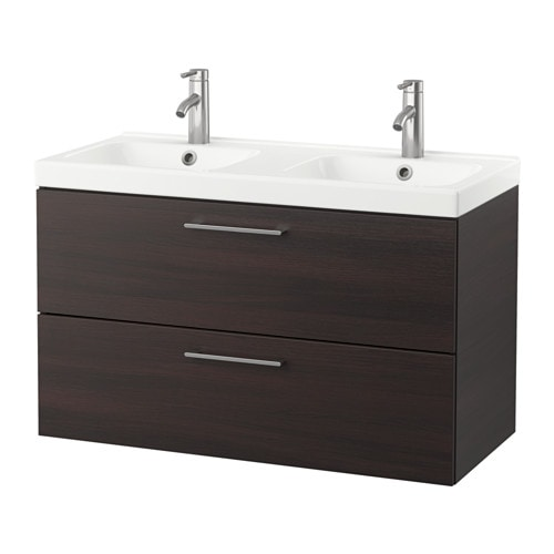GODMORGON / ODENSVIK Wash-stand with 2 drawers - black-brown - IKEA