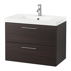 GODMORGON /  ODENSVIK wash-stand with 2 drawers, black-brown, Dalskär tap