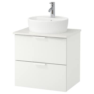 GODMORGON/TOLKEN / TÖRNVIKEN Wsh-stnd w countertop 45 wsh-basin, white/white Dalskär tap, 62x49x74 cm