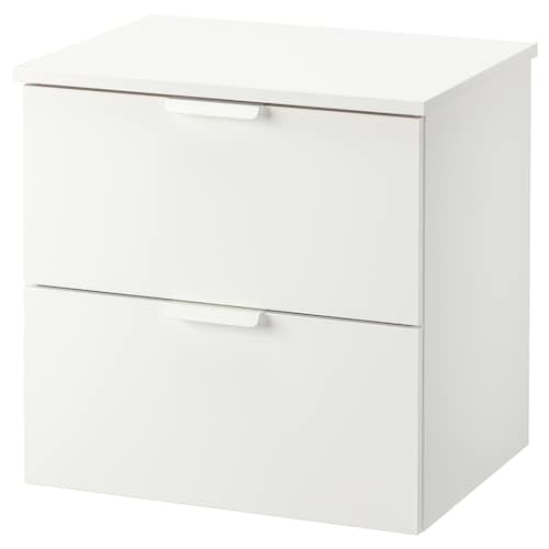 GODMORGON / TOLKEN wash-stand with 2 drawers white/white 62 cm 49 cm 60 cm