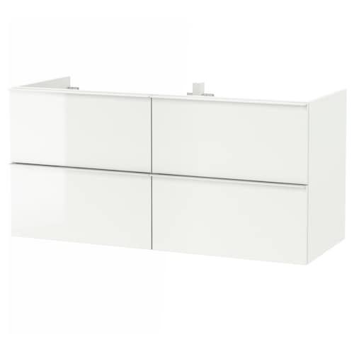 GODMORGON wash-stand with 4 drawers high-gloss white 120 cm 47 cm 58 cm