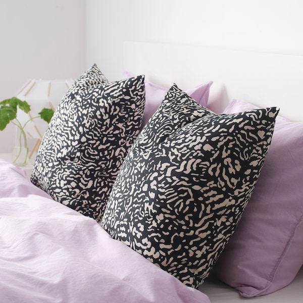 GRIMHILD Cushion cover, black/natural, 50x50 cm