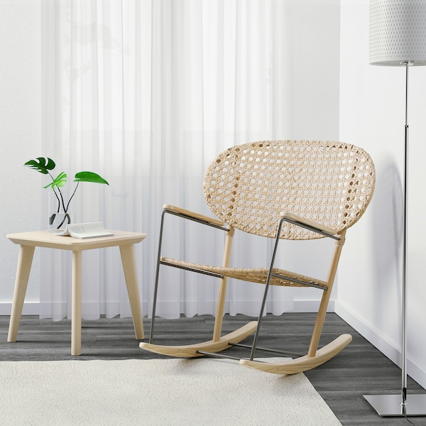 GRÖNADAL rocking-chair grey/natural 80 cm 81 cm 86 cm 47 cm 44 cm 42 cm