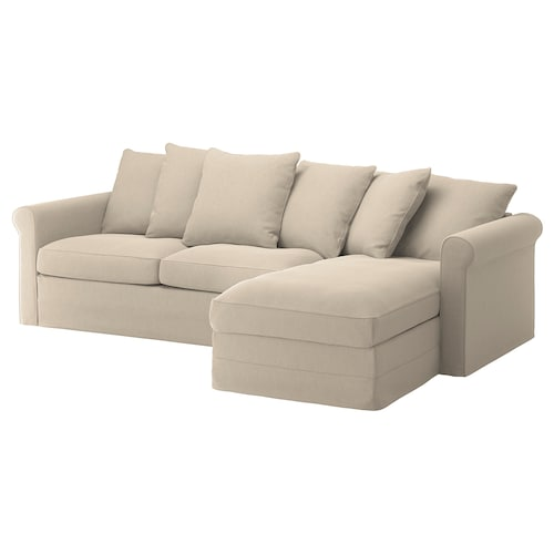 GRÖNLID 3-seat sofa-bed with chaise longue/Sporda natural 53 cm 104 cm 68 cm 164 cm 277 cm 98 cm 126 cm 60 cm 49 cm 140 cm 200 cm 12 cm