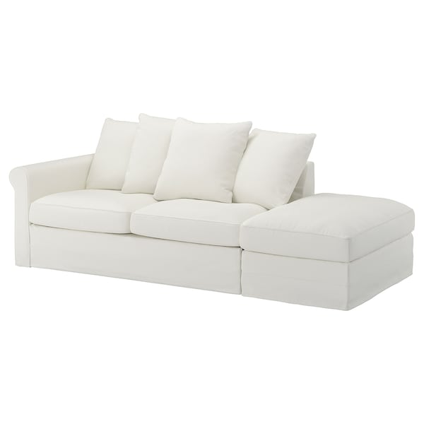 GRÖNLID 3-seat sofa-bed with open end/Gräsbo white 53 cm 104 cm 68 cm 231 cm 98 cm 60 cm 49 cm 140 cm 200 cm 12 cm