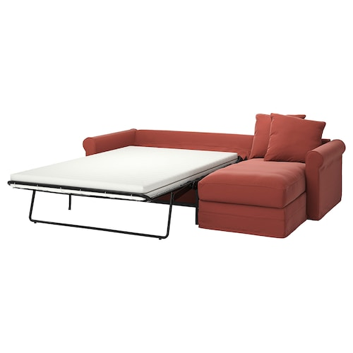 GRÖNLID 3-seat sofa-bed with chaise longue/Ljungen light red 53 cm 104 cm 68 cm 164 cm 277 cm 98 cm 126 cm 60 cm 49 cm 140 cm 200 cm 12 cm