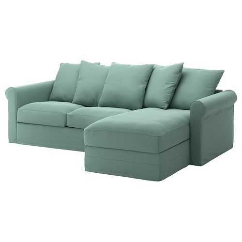 GRÖNLID 3-seat sofa with chaise longue/Ljungen light green 104 cm 164 cm 258 cm 98 cm 126 cm 7 cm 18 cm 68 cm 222 cm 60 cm 49 cm