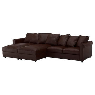GRÖNLID 4-seat sofa, with chaise longues/Kimstad dark brown