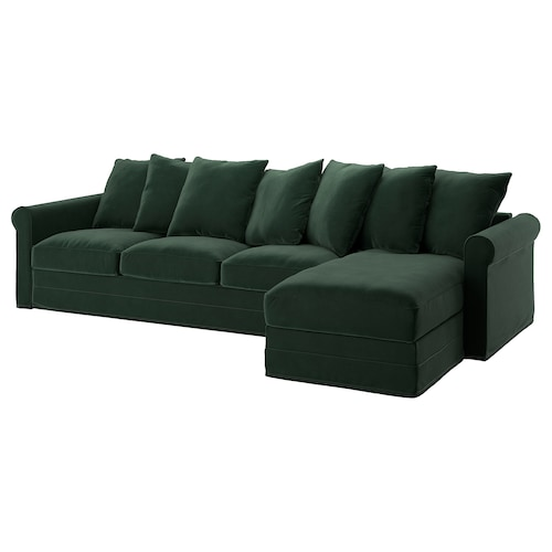GRÖNLID 4-seat sofa with chaise longue/Djuparp dark green 104 cm 68 cm 164 cm 328 cm 98 cm 126 cm 7 cm 18 cm 68 cm 292 cm 60 cm 49 cm