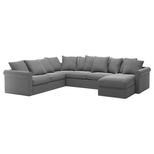 GRÖNLID corner sofa-bed, 5-seat with chaise longue/Ljungen medium grey 53 cm 104 cm 164 cm 98 cm 126 cm 252 cm 352 cm 60 cm 49 cm 140 cm 200 cm 12 cm