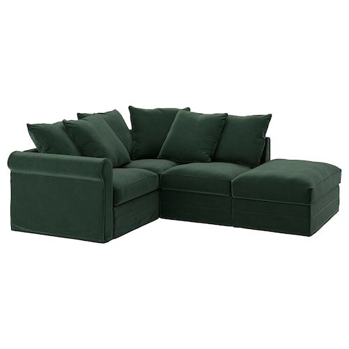 GRÖNLID corner sofa, 3-seat with open end/Djuparp dark green 104 cm 98 cm 235 cm 182 cm 7 cm 18 cm 68 cm 60 cm 49 cm