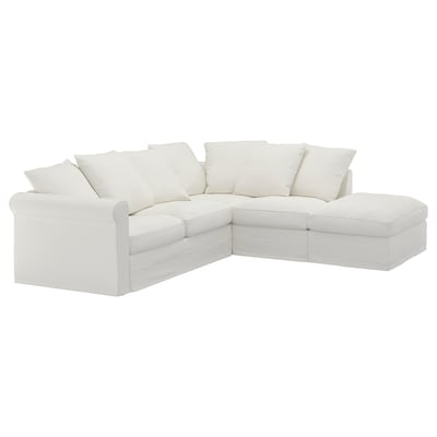 GRÖNLID Corner sofa, 4-seat, with open end/Gräsbo white