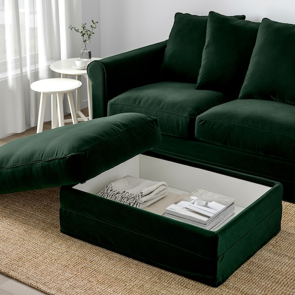 GRÖNLID Footstool with storage, Djuparp dark green