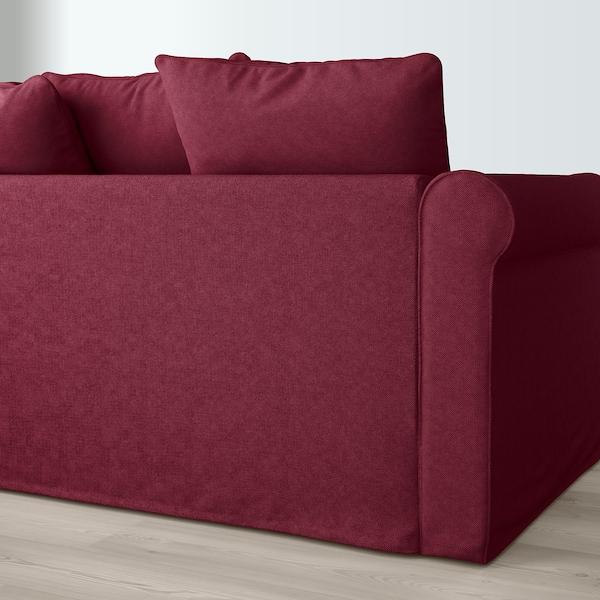 GRÖNLID U-shaped sofa, 6 seat, with open end/Tallmyra dark red