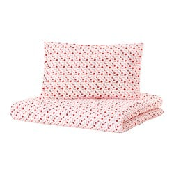 GULSPARV quilt cover/pillowcase for cot, lingonberry patterned