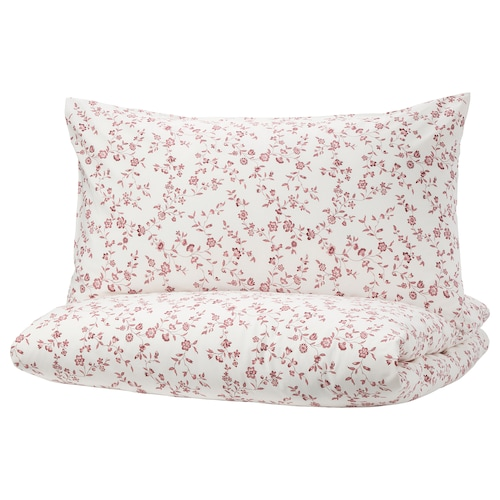 HÄSSLEKLOCKA Quilt cover and pillowcase, white/pink, 150x200/50x80 cm