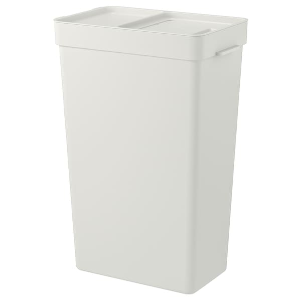 HÅLLBAR bin with lid light grey 30.3 cm 18.3 cm 38.8 cm 25.1 cm 55.0 cm 35 l