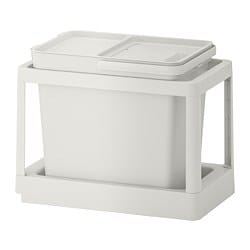HÅLLBAR waste sorting solution, with pull-out, light grey