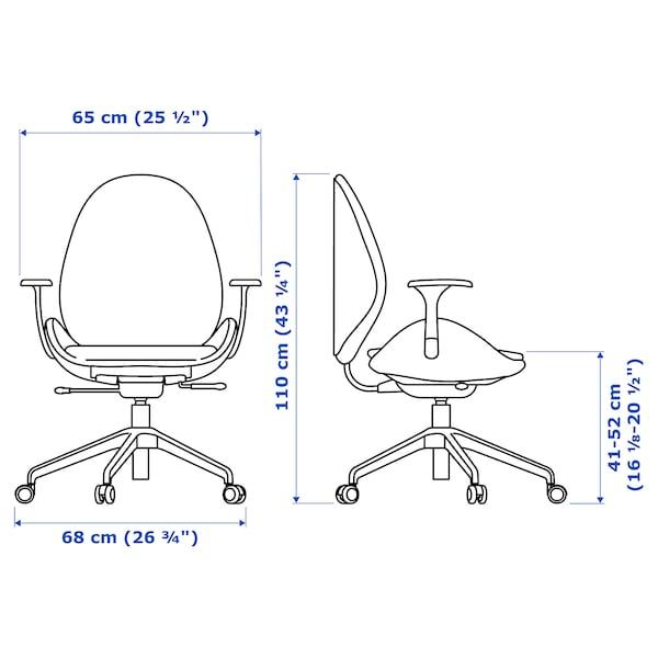 HATTEFJÄLL office chair with armrests Gunnared medium grey/white 110 kg 68 cm 68 cm 110 cm 50 cm 40 cm 41 cm 52 cm